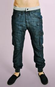 Dark Denim with Ribbed Waist